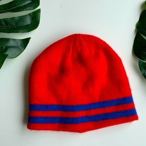 Red and Blue Striped Beanie
